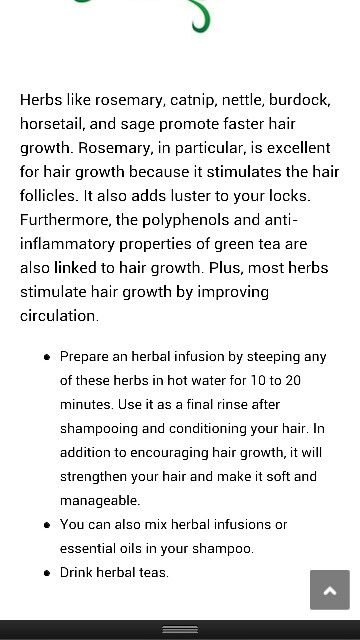 Herbal infusion for hair growth