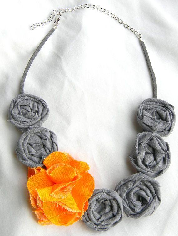 gray fabric rosette necklace. $20.00, via Etsy.