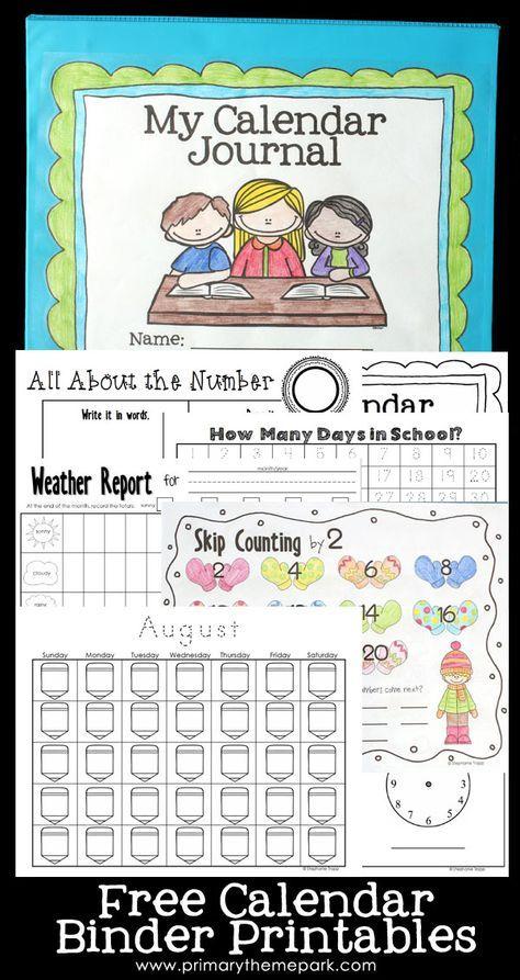 Calendar Notebook Binder Printables | Kindergarten ...