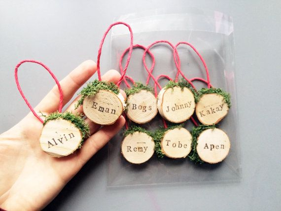 Personalised Christmas Tree Ornaments / Personalized Holiday Decorations / Custom Tree Decor / Wooden Baubles / Family Name Decorations