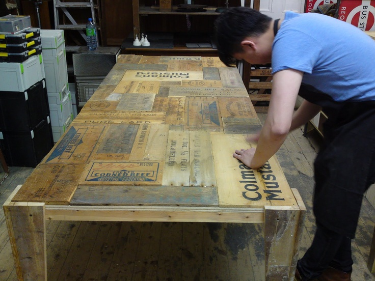 Table made of old wooden boxes