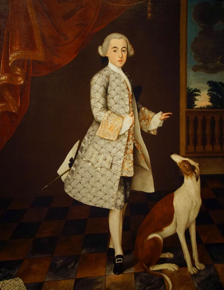 1761 portrait of Don Francisco de Orense y Moctezuma, Count of Villalobos. This fascinating portrait is painted in the European grand manner, with all the accoutrements of aristocratic privilege, at a high level of painterly skill. But it is composed in colonial Mexico & represents a mestizo descended both from Spanish invaders & from abducted family members of the murdered Aztec emperor.
