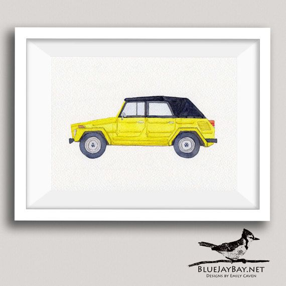 Do you love the Volkswagen Thing? Or do you know someone who is a VW Type 181 / Trekker / Safari aficionado? If so, this personalized watercolor painting is for you! This design is my watercolor rendition of the classic 1974 VW Thing. Volkswagen didnt come up with a fancy name for this awesome car, but it is pretty awesome to see someone driving it and be able to yell out Hey, nice Thing! (true story)  This is a made-to-order original watercolor painting, and it can be customized by...