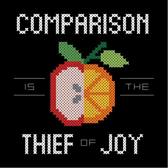 PATTERN Comparison Is the Thief of Joy Modern cross stitch