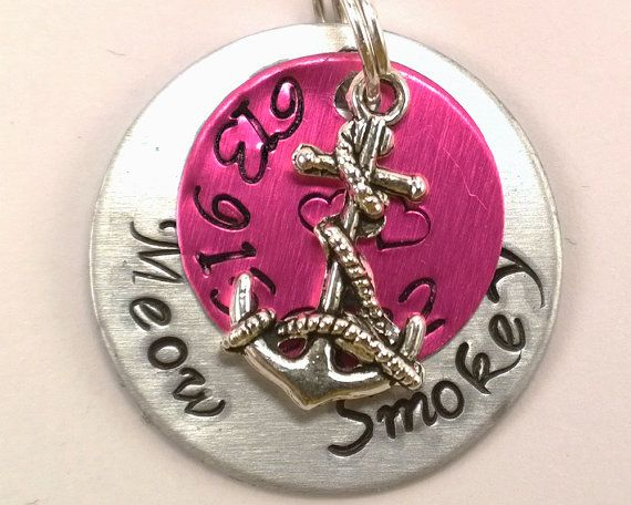 Anchor dog tag, pink pet tag,personalized pet tag,custom pet id tag,cat tag,unique pet tag,custom dog tag,pet accessories,dog collar,dog tag