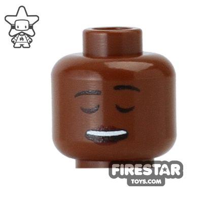 Custom Mini Figure Heads - Laughing - Dark Flesh
