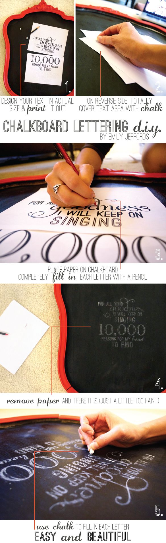 Cool way to get the lettering on your chalkboard to be perfecto!