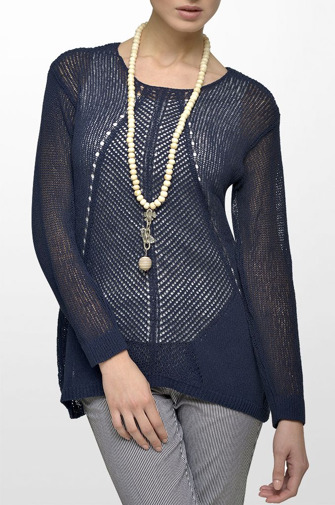 Sarah Lawrence - open stitch long sleeve sweater, cuffed pant with stripes, long layer necklace.