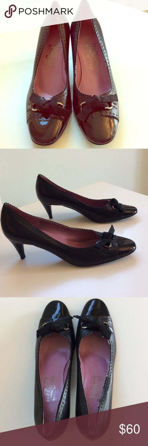 Salvatore Ferragamo black bow pump, barely worn This a beautiful pair of 2.5 in black leather heels with a patent leather cap toe.  I am reposhing these as they are simply too small, and I am an 8.5.  I took these to the cobbler who widened them slightly, but they still don't fit.  😧  i was able to wear them for about two minutes in my house.  It appears the seller barely wore them, either.  Highly recommend for a smaller foot than what is marked, (8.5 B) Salvatore Ferragamo Shoes Heels