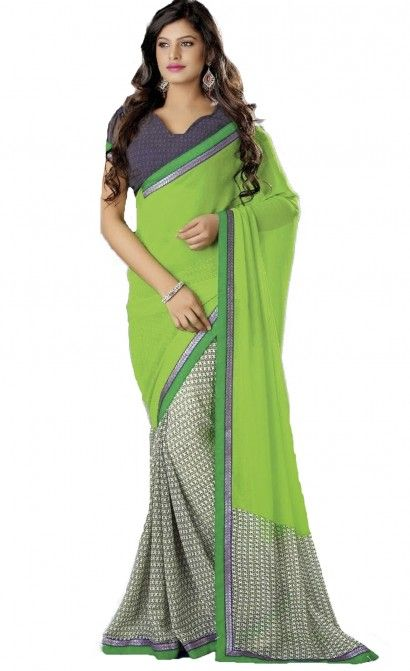 APARNAA PRINTED GEORGETTE SAREE IN DOUBLE COLOR WITH THREAD EMBROIDERY LACE BORDER & RUNNING BLOUSE.