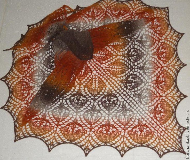 Купить Шаль Серая шейка вязаная спицами из 100% шерсти в интернет магазине на Ярмарке Мастеров