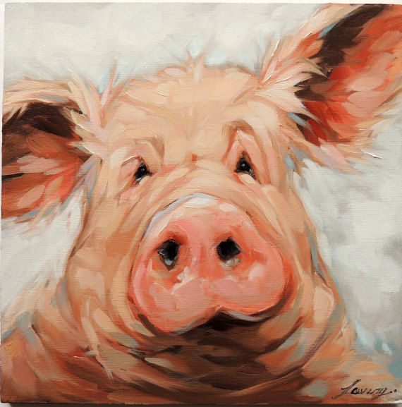 Pig Portrait Painting, 8x8 inch original impressionistic oil painting of a pig, paintings of pigs, pig art, pig portraits
