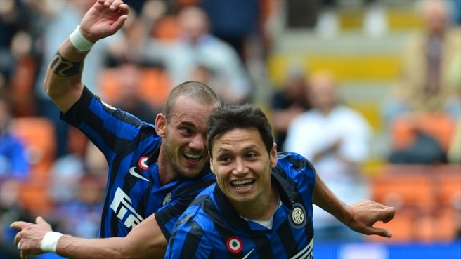 Mauro #Zárate & Wesley #Sneijder (FC Internazionale Milano)  Mauro Zárate (R) of FC Internazionale Milano celebrates after scoring with team-mate Wesley Sneijder during the Italian Serie A match against AC Cesena
