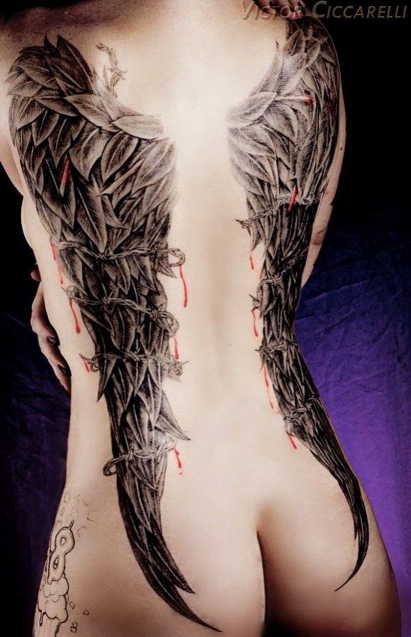 Tatouage Ange Femme Dos