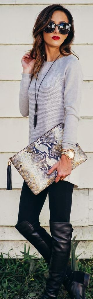 Love the clutch and sexy casualness of this outfit.  I also just bought a pair of boots like these! ---> Multi Snakeskin Print Oversize Clutch by Sequins & Things