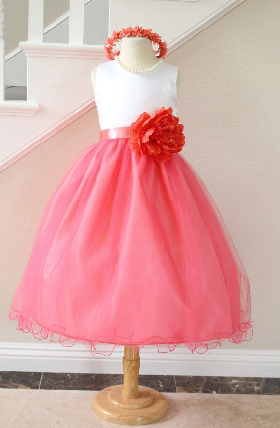 Coral+Guava+Flower+Girl+Dress+Wavy+Edges+for+by+NollaCollection