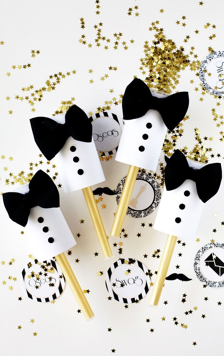 DIY Tuxedo Confetti Poppers - Oscars Party Ideas  [www.myflashtrash.com]