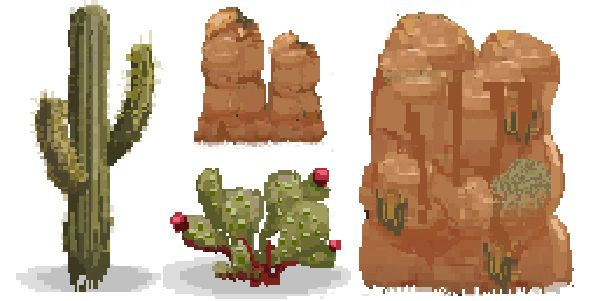 #PixelArt of Day: If you venture through #Clashofgnomes Episode 4, you'll find a desertic landscape and prickly vegetation!