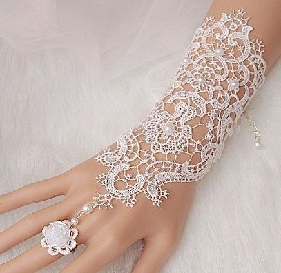 idea for white mehndi  ON SALE Bridal gloves, Wedding glove, lace bridal gloves, bridal cuff, Lace Wedding Accessories, white wedding, fingerless bridesmaid gloves...