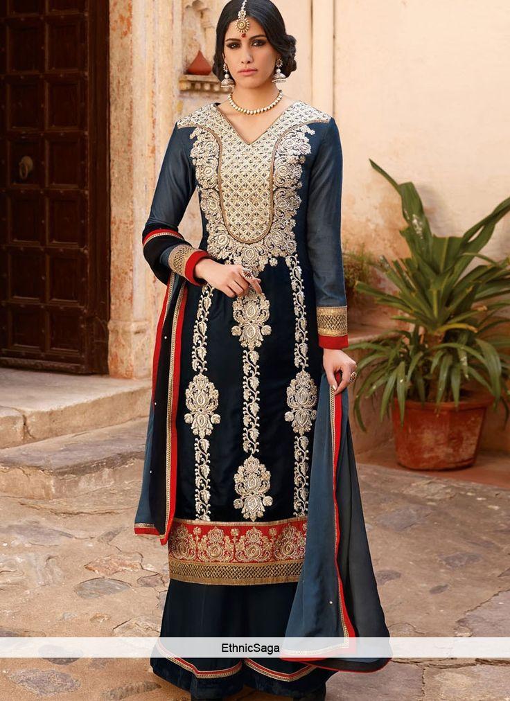 Cheerful Blue Velvet Embroidered Designer Suit