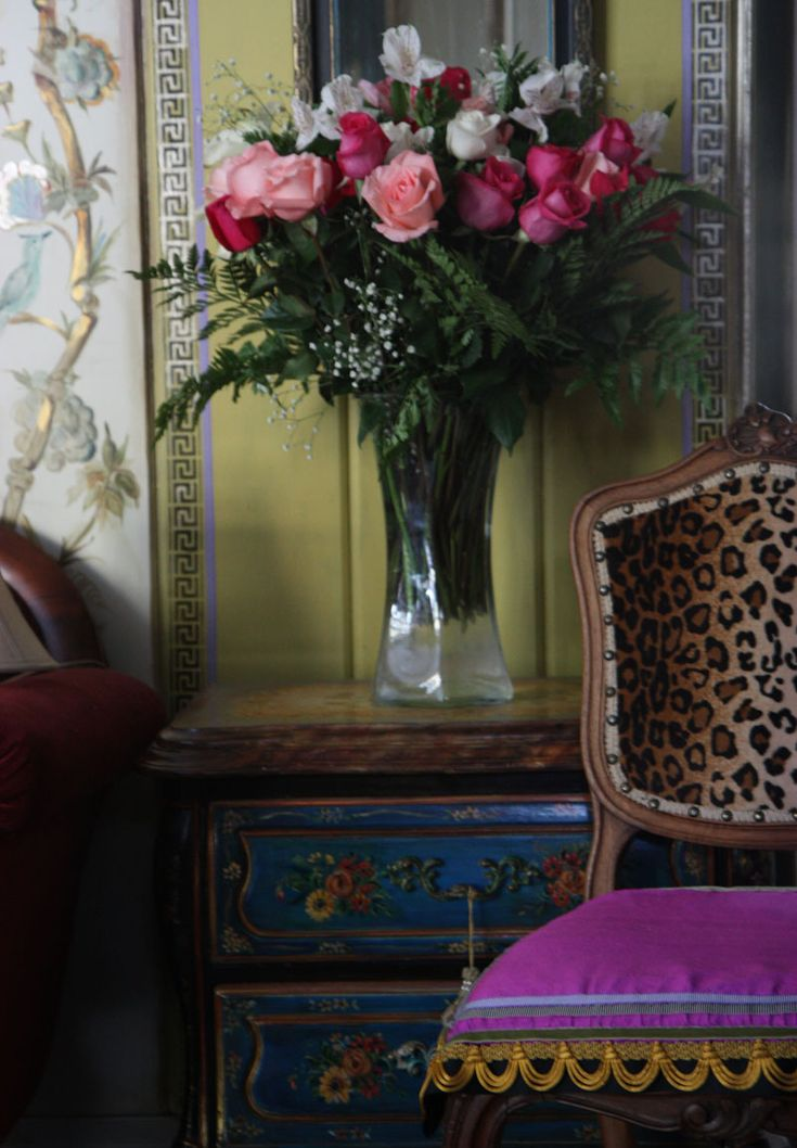 Design, painting (accent table, walls- metallic bird and key detail), and photography by (IN)DECOROUS TASTE.