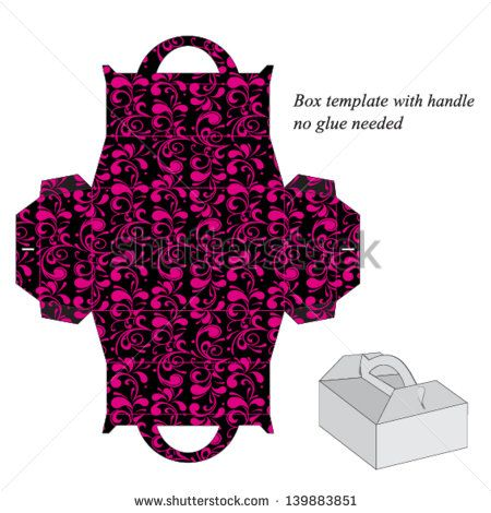 Box template with handle. No glue needed. Vector illustration with floral pattern. - stock vector