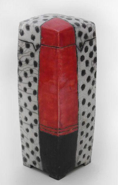 Raku Keramik Dose Schwarz Weiß Rot