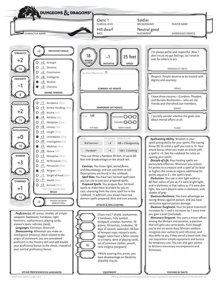 Character Sheet ...D D 5e Character Sheet Pdf