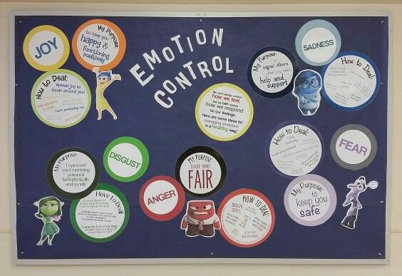 Inside Out counseling bulletin board on managing emotions