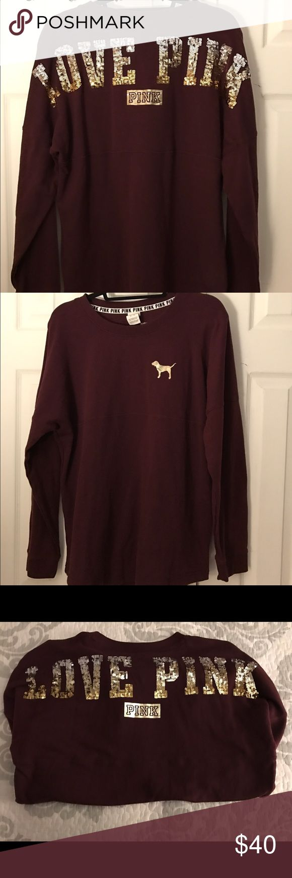 """EUC Victoria'sSecret Pink Maroon sweatshirt size-M EUC Victoria's Secret Pink sweatshirt in the sold out color-Maroon with the iconic pink dog on the right shoulder in gold & on the back """"LOVE PINK"""" in gold & silver sequins w/ pink in gold below it, from a smoke free home , tried on & taken good care of . PINK Victoria's Secret Tops Sweatshirts & Hoodies"""