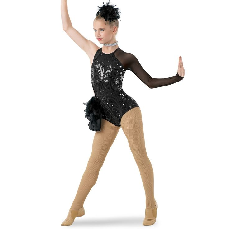 10174+Matadora+-+A+sophisticated,+asymmetrical+leotard+with+a+single+long+point+sleeve+in+stretch+mesh.+The+bodice+is+made+of+sequin+scroll+mesh+accented+with+rhinestones+over+matte+nylon/spandex.+A+side+cutout+at+the+waist+is+highlighted+by+a+taffeta+and+feather+side+bustle.+Keyhole+opening+in+back+has+a+G-hook+closure.+Glitter+free!+Imported.  Includes+:+Feather+boa+pouf+hair+clip;+rhinestone+choker.