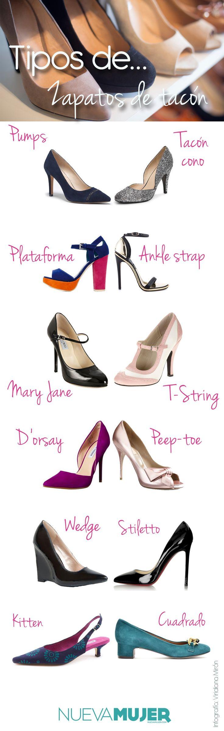 Tipos de zapatos, tacones y tacos ¿cómo se llaman y cuáles son? Pumps, stilettos, mary jane, kitten, peep toe y más