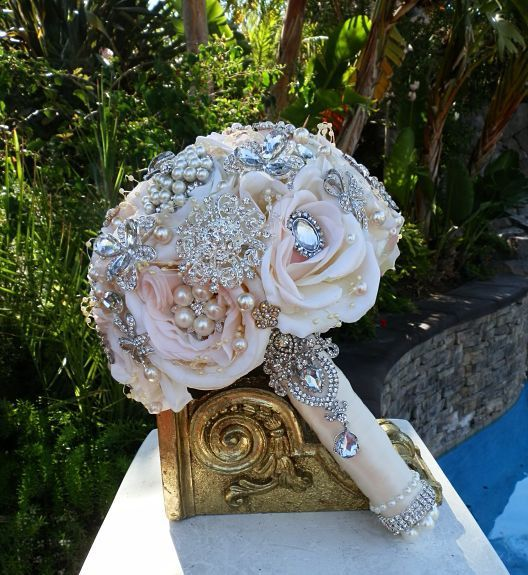 BLUSH BROOCH BOUQUET Deposit for a Custom by Elegantweddingdecor