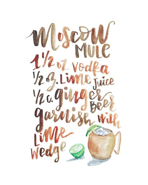 Handlettered Moscow Mule Recipe