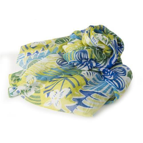 PAREO SCIARPA PAPYRUS VERDE  -  Grazioso pareo - sciarpa in vaporoso e soffice chiffon stampato con motivi floreali, nei toni del verde e blue, 100% poliestere.  Dimensioni: cm 110x150