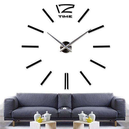 special offers modern frameless large wall clock style watches wall sticker diy room home decorations big timer black in stock free shipping