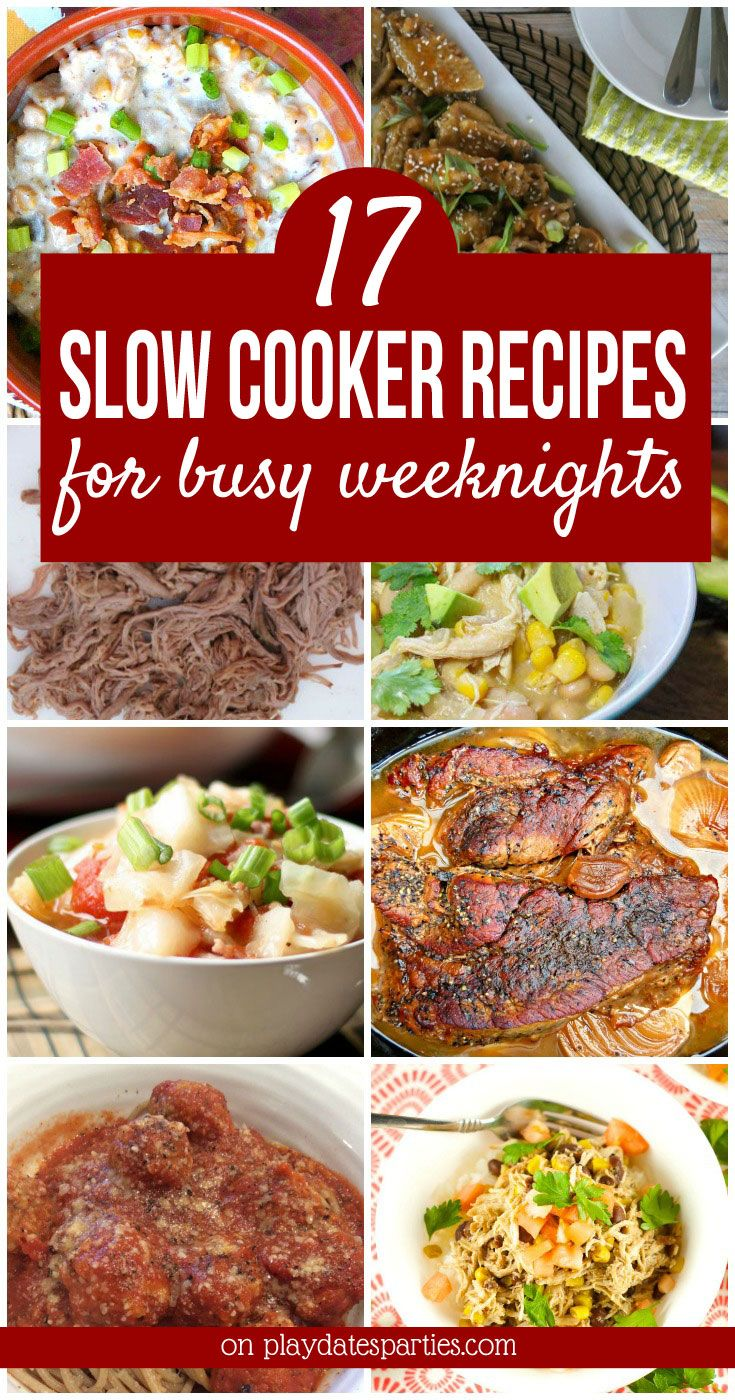 From chili to chicken wings and lettuce wraps, these 17 flavorful slow cooker #dinner #recipes are perfect for the weekdays when you're too busy to spend time in the kitchen. #crockpot https://playdatesparties.com/17-slow-cooker-dinner-recipes/