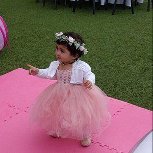 ea8395c64 Indigo Blue Empire Waist Baby Tulle Dress with Stretch Crochet Top ...