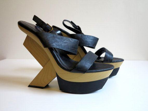 Piattaforma nero scarpe grosso arte alta tacchi Strappy piattaforme piattaforma sandali cinturino alla caviglia Scarpe Open Toe scarpe taglia EUR 41 UK 7 US 9.5