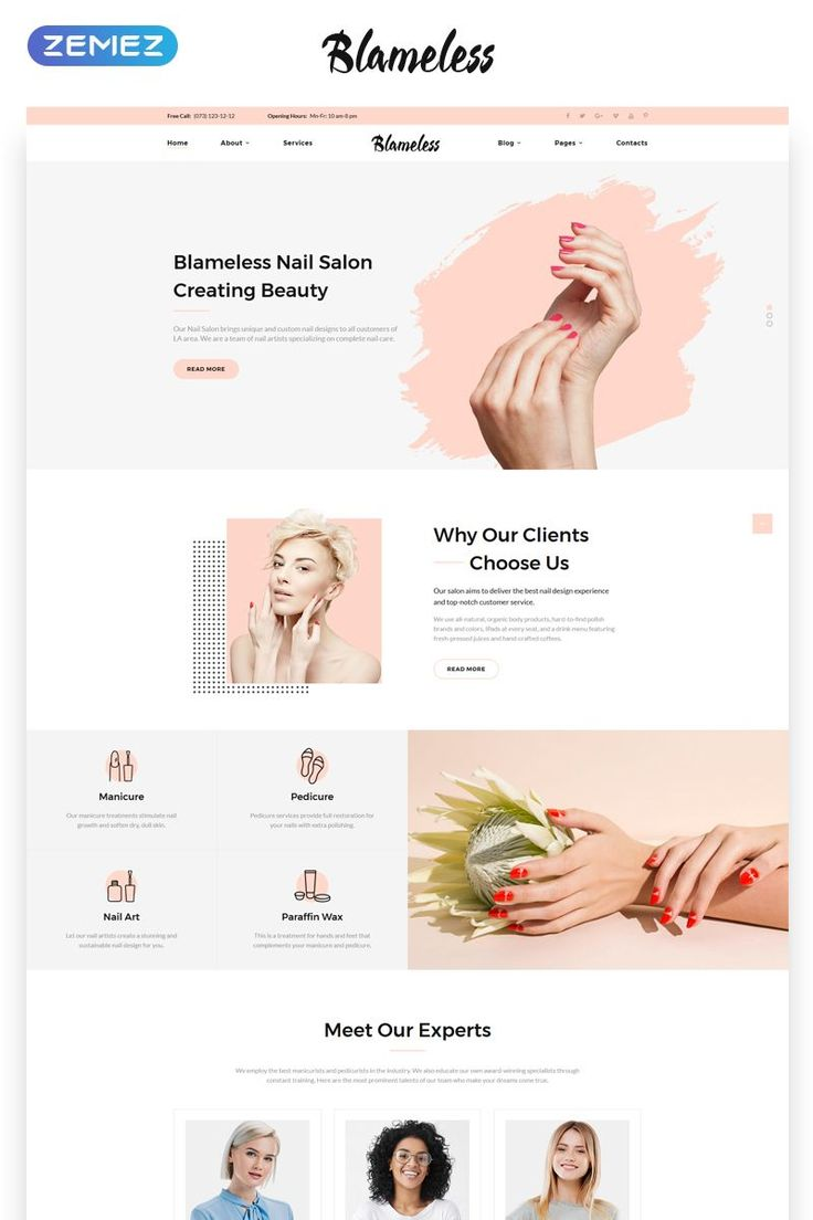 Blameless – Nail Salon Multipage HTML5 Website Tem…