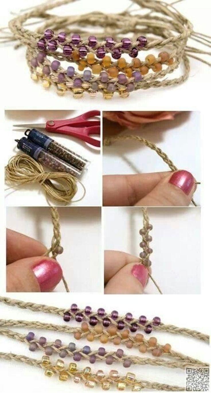 5. #BEADED HEMP BRACELET - 30 Amazing DIY #Bracelets You Have to Check out ... → DIY #Bracelet