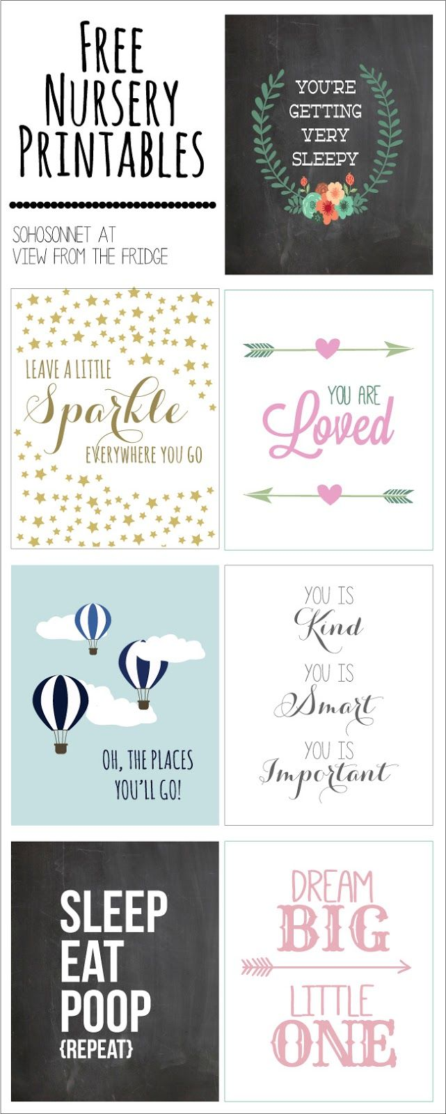 Cute! Free nursery printables or would work in a little kids' room too.