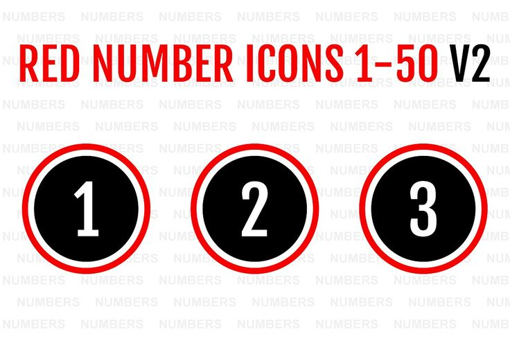 Red Number Icons 1-50 v2 by Alfredoh on @creativemarket