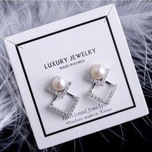 Neue Ankunft 925 Sterling Silber Nadel Zirkon Geometrische Ohrstecker für Frauen Schmuck Schöne Simulatd Perle Ohrring Mädchen Geschenk(China)