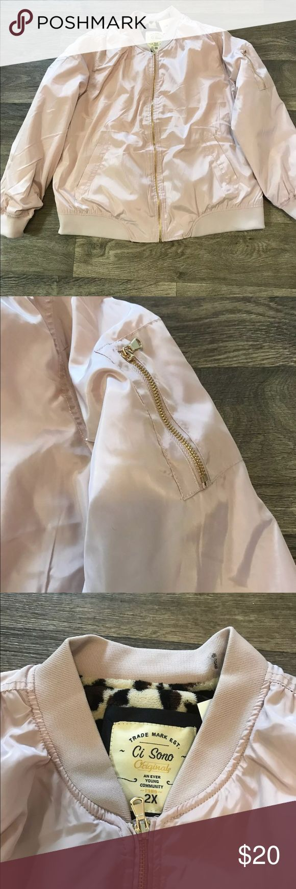 New light pink bomber jacket New and never been worn. Light pink bomber jacket with cheetah print inside. Super soft lining inside. Zipper on side. CUTE!!!! Jackets & Coats