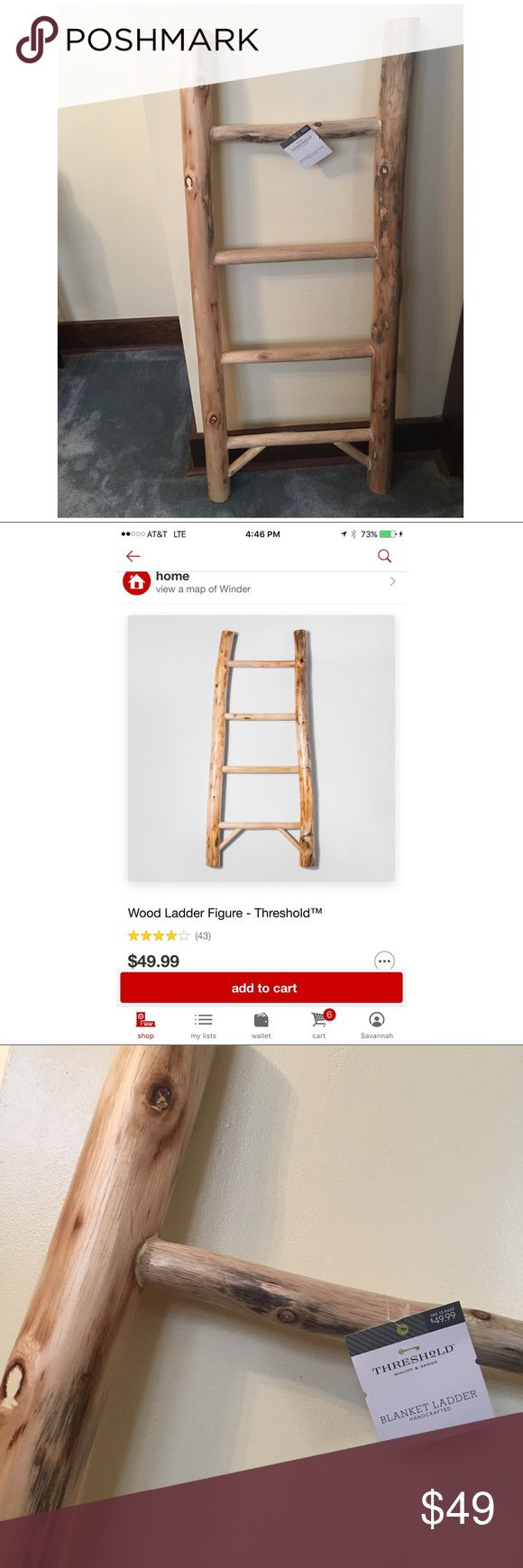 Threshold Blanket Ladder Threshold Blanket Ladder •Check picture 2 for a screenshot of the Ladder & Price  •Purchased from target  •Retail-$49.99 •Never used tag is still on it •Brand new ( Won't ever use it ) •Smooth wood finish •Wood finish-natural •Indoor only •Dimensions-Overall-42inches(H) x 18.3 (W) x 2.0 (D) •Perfect finish to a living, bedroom or entryway  •It weighs about 10 pounds overall   Happy Shopping!!! Threshold Other
