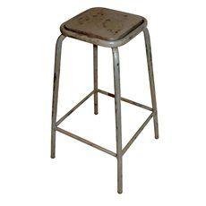 Barhocker Vintage grau - die Sitzfläche aus Holz, Stuhlbeine Metall im Vintage Look grau lackiert ca. H 75cm x B42 x T42cm