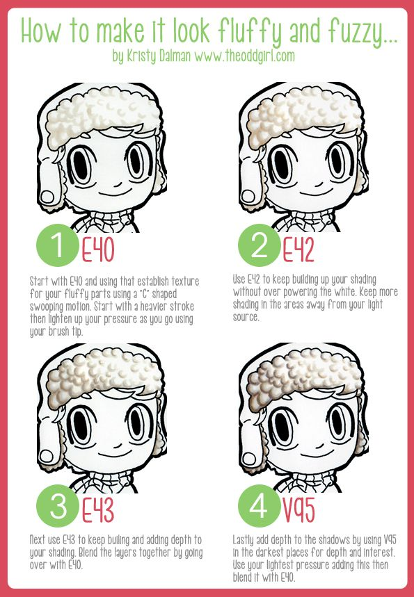 Creating fluffy or fuzzy texture with Copic markers by Kristy Dalman of Some Odd Girl