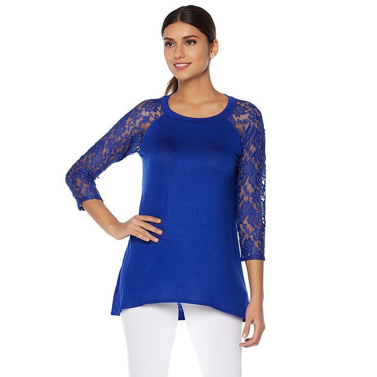 Rhonda Shear Raglan Tee with Lace Sleeves - Blue