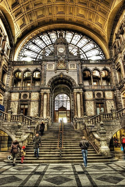 Antwerp, Belgium - Inside Central Station ~ In 2009 the American magazine Newsweek judged Antwerpen-Centraal the world's fourth greatest train station. When this palatial neo-Baroque station was completed in 1905, it was criticized for its extravagance (it is decorated in more than 20 types of marble and stone). #Belgium #travel